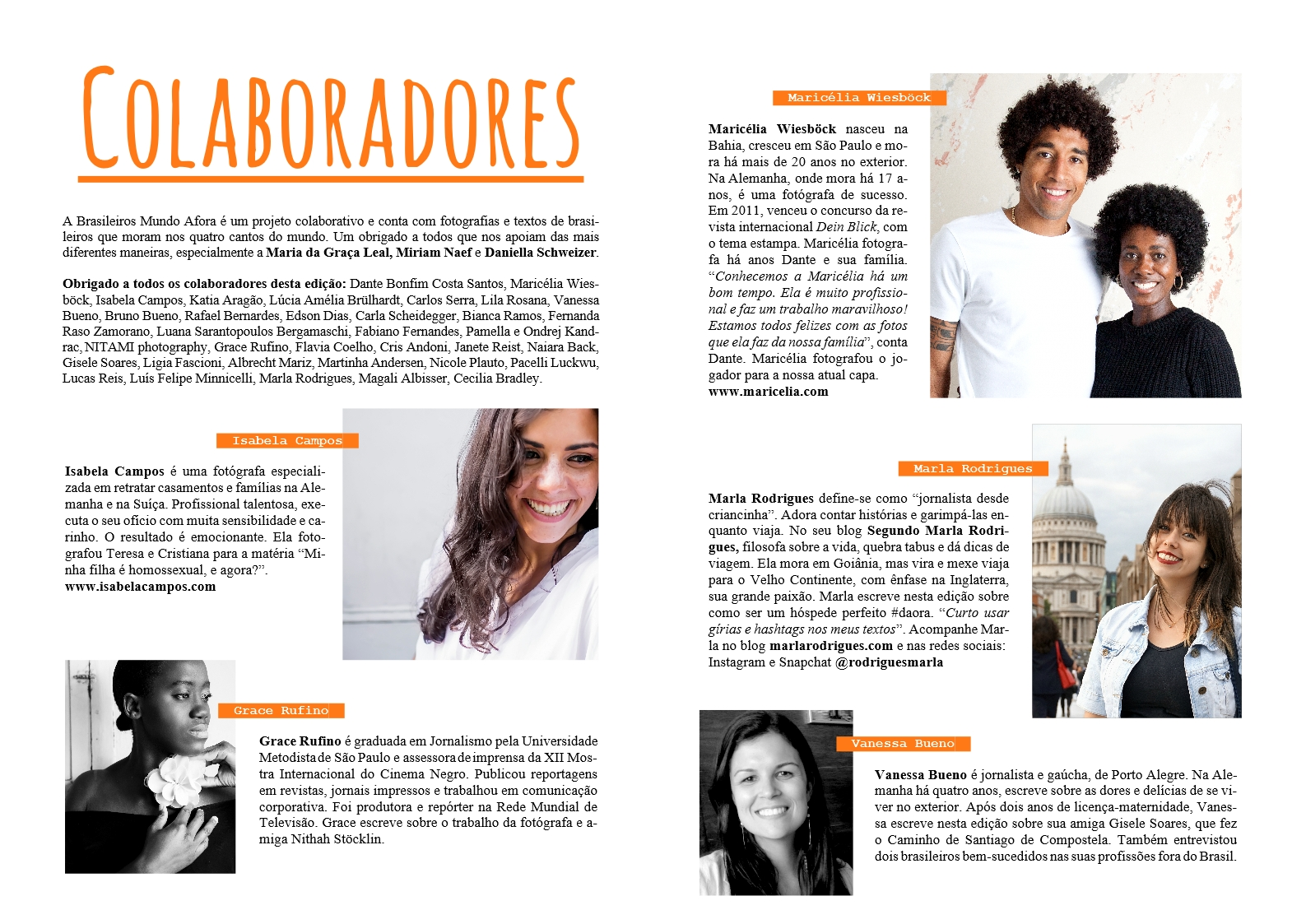 Colaboradores da Brasileiros Mundo Afora